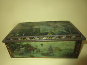 Antique Victoria. Belgium Candy Box Christmas Lithographed Christmas Tree Toys