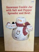 Happy Snowman Centerpiece Snack Set Cookie Jar Salt And Pepper -cute And Rare