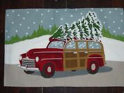New Pottery Barn Christmas Vintage Car Woody Crewel 16 X 26 Pillow Cover