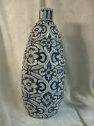 Large Painted Decorative Pottery Gray And Cobalt Blue Floral Vase Lamp Base