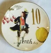 New Williams Sonoma 12 Days Of Christmas 2012 On The Tenth 10th Day Salad Plate