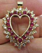 Gorgeous Large Diamond And Ruby Heart Pendant In 14k Gold 2.55 Ctw Make Offer