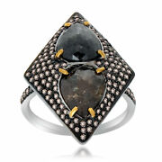 Heavy 6.55 Ct Black Rough And Brown Diamond 18k Gold And Sterling Fashion Ring Sz 8