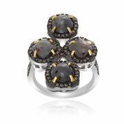 Heavy 5.79 Ct Black Rough And Brown Diamond 18k Gold And Sterling Four Stone Ring 7