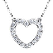 0.48ct Real Diamond Round 14k White Gold Open Heart Pendant Valentine Gifts