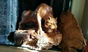 Huge Chinese Carved Burr/burl Sculpture Male Mountain Lion 1/2 Life Size