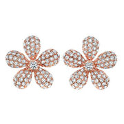 5/9 Ct Round Cut Simulated Solid 14k Rose Gold Daisy Flower Stud Earrings