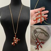Kenneth Jay Lane Large Coral Pendant Necklace Couture Collection Rare