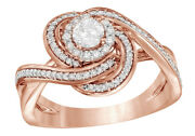 0.62 Ct Round Cut White Real Diamond Frame Knot Engagement Ring In 14k Rose Gold