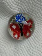 American 1976 Peter Gentile Butterfly Glass Paperweight, Morgantown Wv, 1950's