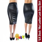 Women Ladies Plus Size Wet Look Faux Leather Pencil Stretch Midi Skirt 8 To 26