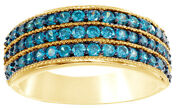 1 Ct Round Cut Blue Natural Diamond Three Row Ring In 10k Yellow Gold