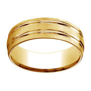 18k Yellow Gold 7mm Comfort Fit Satin Finish Parallel Grooves Band Ring Sz 8