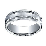 7.5mm Comfort Fit Satin Finish Rope Carved 14k White Gold Band Ring Sz 12