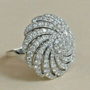 1.61ct Natural Round Diamond 14k Solid White Gold Cocktail Ring In Size 7 To 9