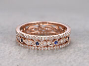 Christmas 2.11ctw Natural Round Diamond Blue Sapphire 14k Rose Gold Band Ring
