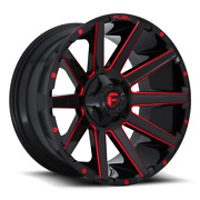 4 22x10 Fuel Black W/ Candy Red Contra Wheel 5x139.7 5x150 For Jeep Toyota Gm