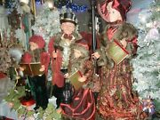 Giant 36 Inches 5 Piece Deluxe Caroler Set W/ Lamppost Sings Christmas Rare H-5