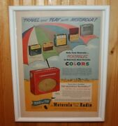 1950and039s Framed Motorola Runabout Transitor Radio Advertising