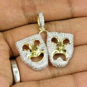 3.02ct Naturl Diamond 14k Solid Yellow Gold Halloween Two Face Mask Pendant