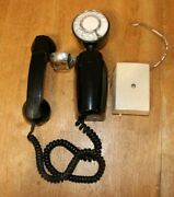 Art Deco American Electric Black Space Saver Side Hanging Rotary Phone Nb830ca