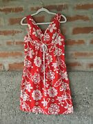 Vintage Lauhala Hawaiian Sundress Red/white Print Size M Great For Christmas
