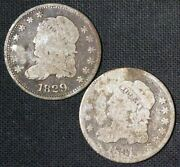 1829 And 1831 H10c Capped Bust Silver Half Dime Pair - Free Shipping Usa
