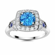 0.76 Carat Natural Blue Topaz And Diamond Sapphire Vintage Ring In 14k White Gold