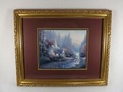 Thomas Kinkade The Forest Chapel Print Gold Frame And Matted W/ Coa Beauty