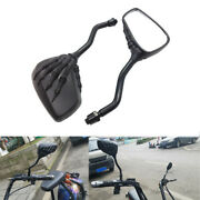 Skull Hand Side Mirrors 10mm For Scooter Moped Cruiser Chopper Motorcycles Black