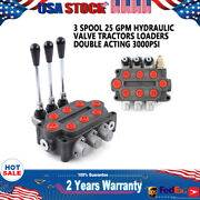 3 Spool 25 Gpm Hydraulic Control Valve Tractors Loaders Double Acting Fast Ship