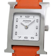 Free Shipping Pre-owned Hermes H Watch Hh1.210.131 Quartz White Dial