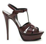 New Ysl Saint Laurent Tribute 105 Sandals 527533 0z800 Burgundy Authentic 39.5