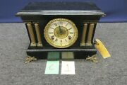 Antique Mantle Clock Black Paint Brass Gold Tone Hardware Columns Wind Up Chime
