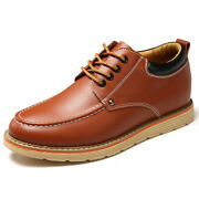 Mens Retro Leather Casual Invisible Elevator Shoes Height Increasing Trend Shoes