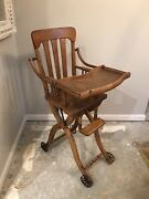 Antique Oak Folding Up/down High Chair And Or Stroller Circa1900
