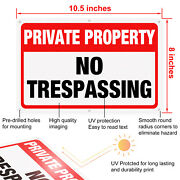 4-pack No Trespassing Private Property Keep Out Aluminum Metal Sign 10.5 X 8