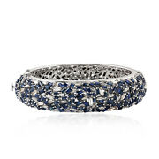 Halloween Sale 14.47ct Natural Sapphire Bangle 925 Silver 18k White Gold Jewelry
