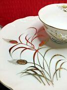 6 Sets 12 Pc Vtg Lefton China Gold Snack Plate Tea Cup Hand Painted Wheat 2768