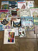 Lot Of 15 Coloring Book Adults Stress-relief Book Kids Too Secret Garden
