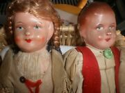 Antique Paper Mache Face Doll Dolls Stamped Lot Of 2 Boy And Girl Original Dress