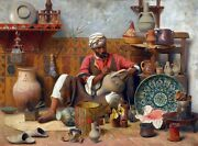 Pottery And Ceramic Maker And Decorator - Arabic Art - Handmade Oil Painting