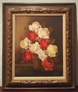 Still Life Painting Of Rose Signed A. Silver Anco Bilt Hand Carved Wood Frame