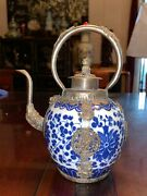 18th C. Antique Chinese Porcelain Blue And White With Silver Teapot Qing Dynasty