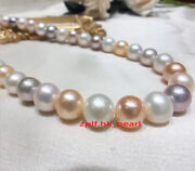 Aaaaa 2015-12mm Real South Sea White Purple Pink Multicolor Pearl Necklace 14k