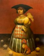 Lady With A Red Dog, Surrealism Original Oil Painting, Handmade Artwork