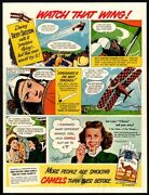 1948 Camel Cigarettes - Pilot Betty Skelton Comic - Smoking - Retro Vintage Ad