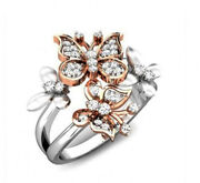 1.25ct Natural Round Diamond 14k White Gold Butterfly Cocktail Ring Size 7
