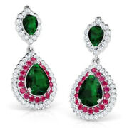 2.21ct Natural Round Diamond Ruby Emerald Gemstone 14k Solid White Gold Earring