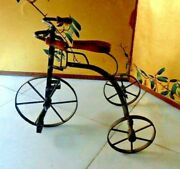 Antique Toy Wrought Iron And Wood Tricycle